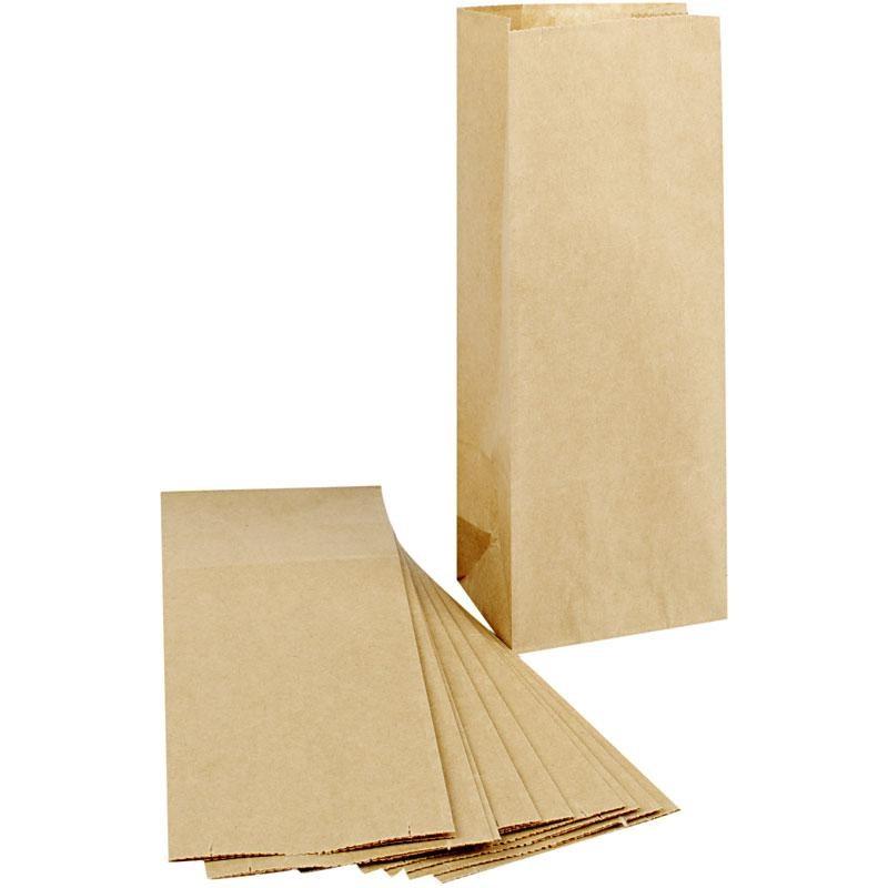 6856f76be7e Χάρτινες σακούλες, μέγεθος 10x6x24 cm, καφέ, 100 τεμ